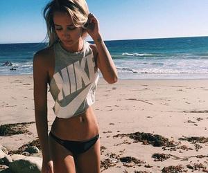girl, nike, and beach image
