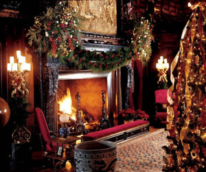 christmas, fireplace, and lights image