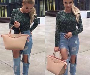 bag, beautiful, and jeans image