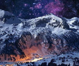 mountains, snow, and stars image
