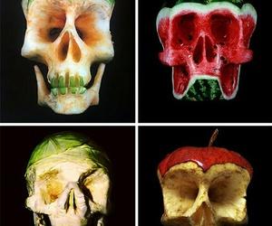apple, skull, and art image