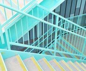 aesthetic, mint green, and stairs image