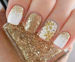 nails, gold, and white image