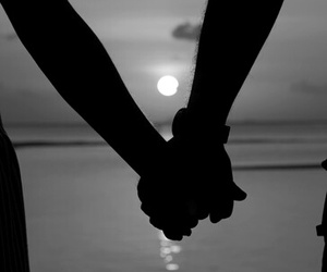 couple, holding hands, and b &w pic image