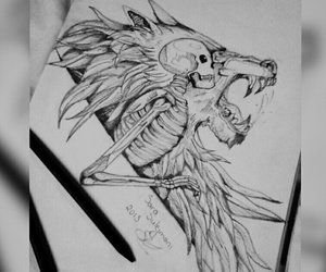 black&white, drawings, and lion image