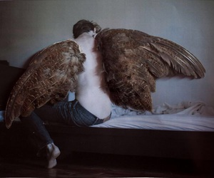 angel, wings, and surreal image