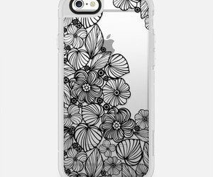 black, flowers, and case image