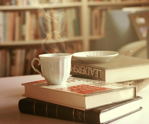 books, coffee, and cafe image