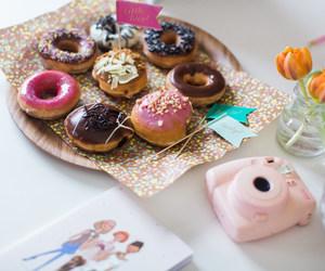food, camera, and donuts image