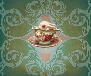 Benjamin Lacombe, bunny, and tea cup image