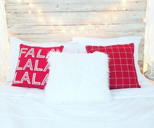 christmas, pillow, and red image
