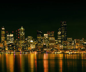 city, night, and seattle image