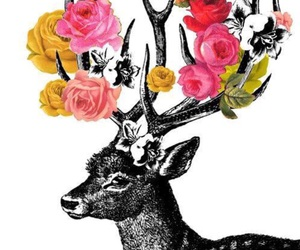 flowers, deer, and wallpaper image