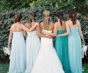 bridal, bride, and bridesmaids image