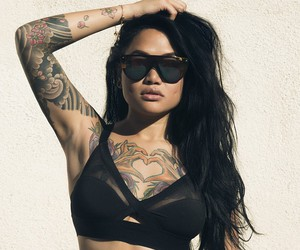brunet, tattoo, and woman image