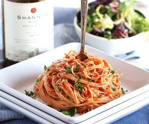 pasta, red wine, and wine image