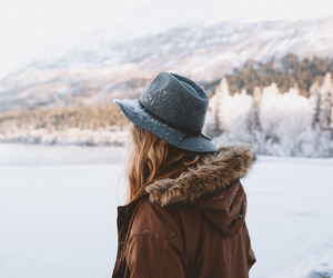 girl, nature, and winter image