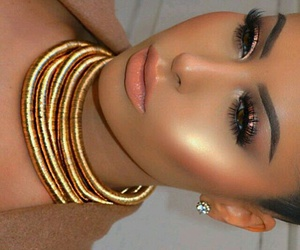 contour, makeup, and earrings image