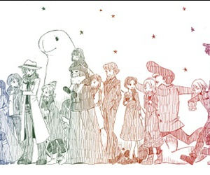 crow, professor layton, and luke triton image