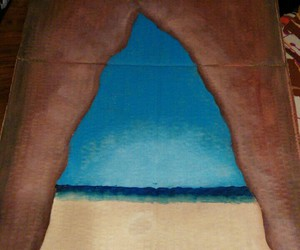 art, beach, and cave image