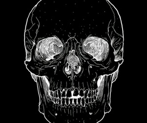 skull, gif, and black and white image
