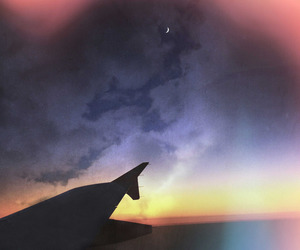 air, airplane, and evening image