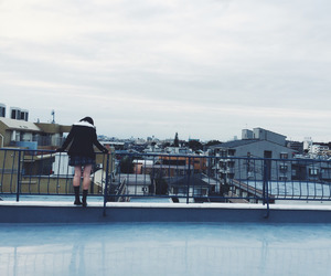 japan, rooftop, and school girl image