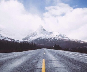 mountain, road, and winter image