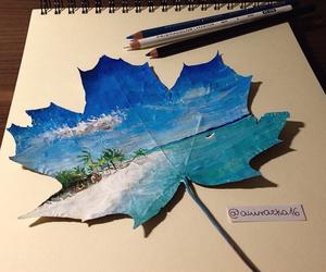 art, draw, and beach image