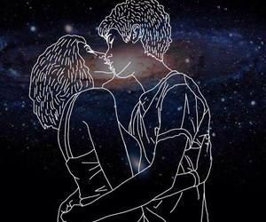 love, kiss, and stars image