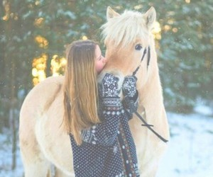 horse, girl, and snow image