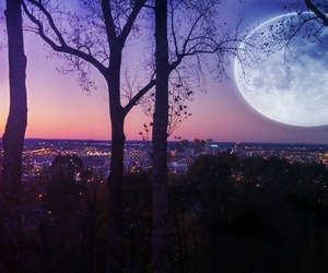 color, landscape, and moon image