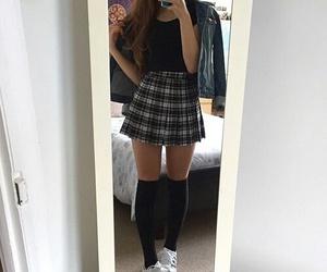 girl, adidas, and skirt image