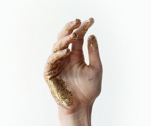 gold, hand, and glitter image
