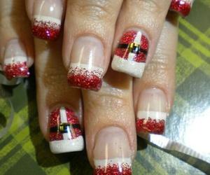 santa, nails, and christmas image