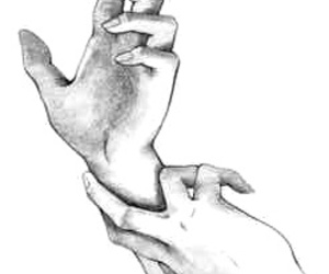 black and white, hands, and overlay image