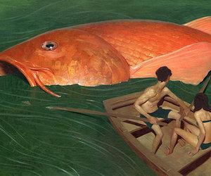 fish, boat, and art image