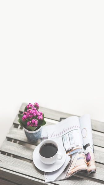 wallpaper, flowers, and coffee image