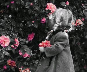 flowers, little girl, and child image