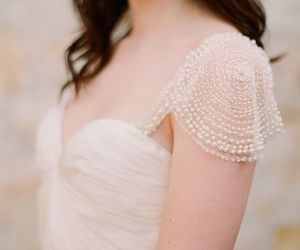 dress, bride, and pearls image