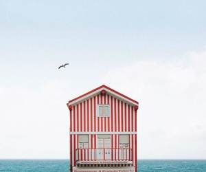 house, sea, and red image