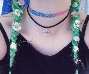 flowers, choker, and green image