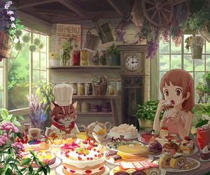 anime, cat, and food image