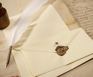 Letter and feather image