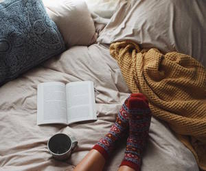 book, socks, and bed image