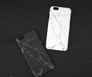 black and white, granite, and iphone cases image