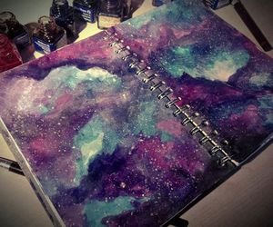 art, galaxy, and blue image