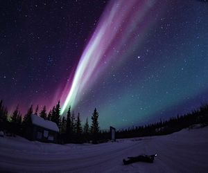 aurora, stars, and colours image