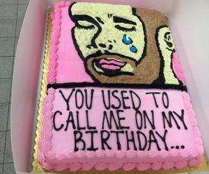 Drake, cake, and birthday image