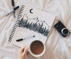 art, coffee, and drawing image